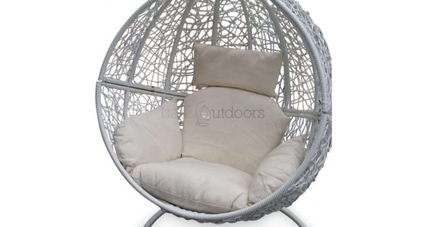 Outdoor Hanging Ball Chair White Bare Outdoors