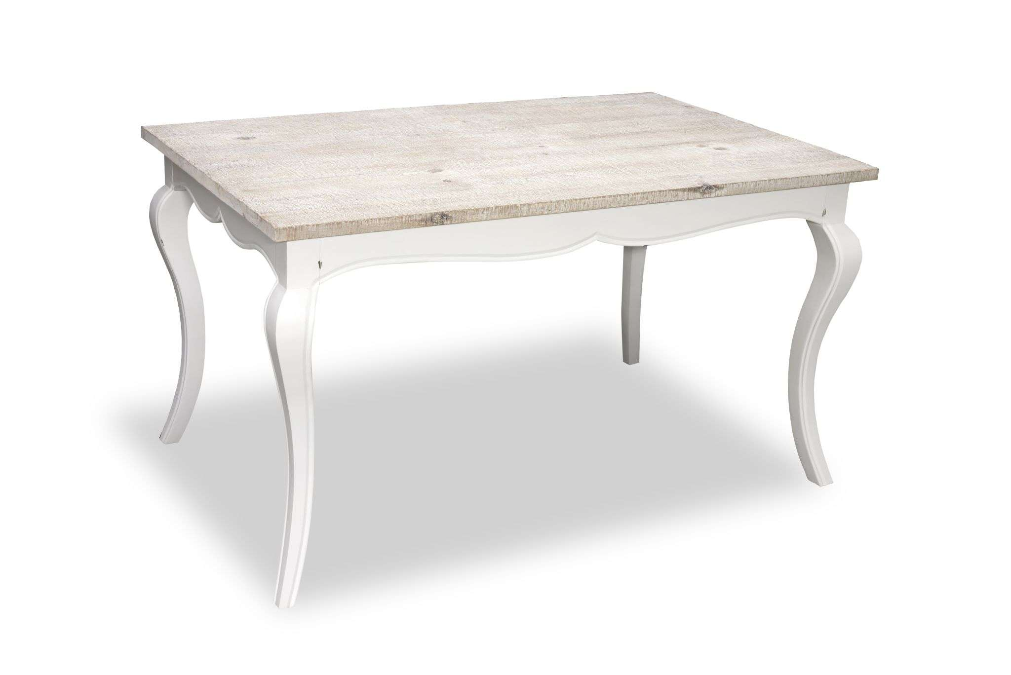 Painted Cottonwood Shabby Chic Rectangular Dining Table