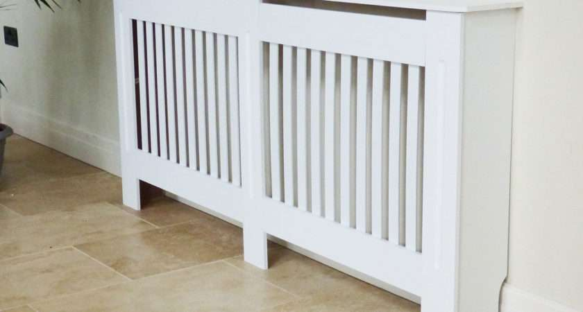Painted Radiator Cover Cabinet Vertical Modern Style Slats