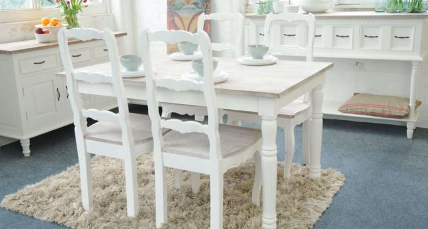 Painted Shabby Chic French Kitchen Dining Table Set