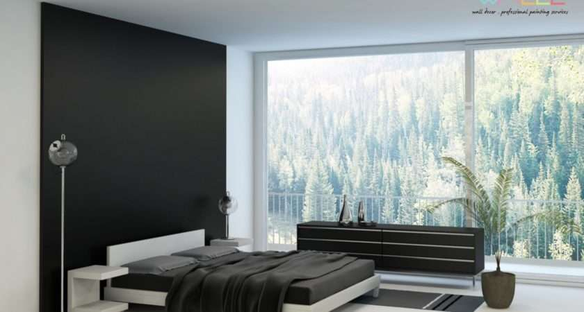 Painting Feature Wall Bedroom Designs Black
