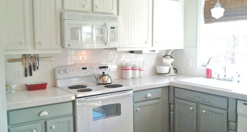Painting Oak Cabinets White Gray Kitchen Feature
