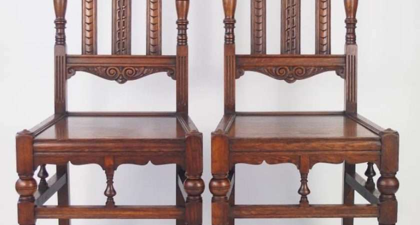 Pair Antique Arts Crafts Oak Hall Chairs