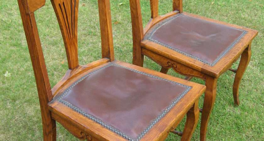 Pair Oak Arts Crafts Hall Chairs Antiques Atlas