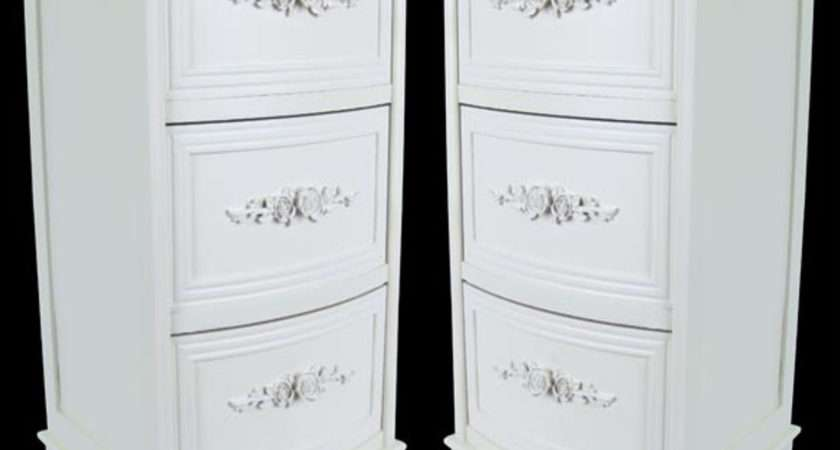 Pair Shabby Chic White Chest Drawers Cabinets Bedside
