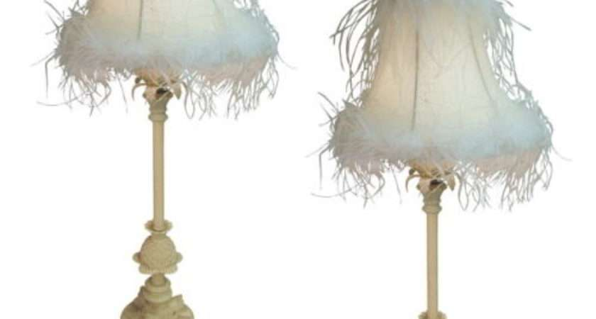 Pair Table Lamps Cream Feather Shabby Chic Shades