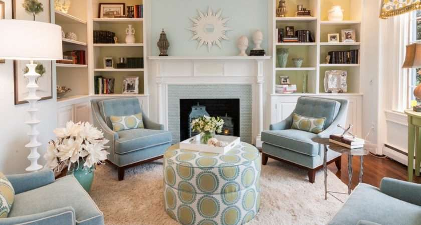 Pale Blue Green Living Room Fireplace Previously Empty