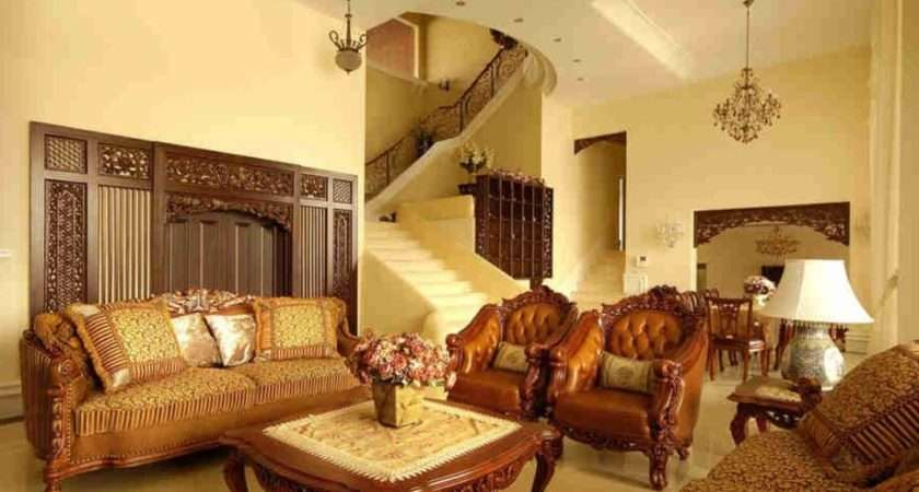 Pale Yellow Walls Antique Furniture Living Room Europe