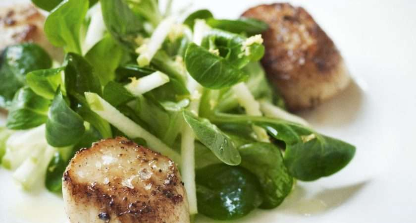 Pan Fried Scallops Crunchy Apple Salad