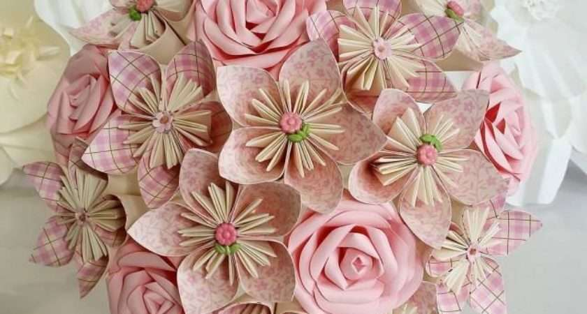 Paper Flowers Bouquet Origami Bridal Stationary Rustic