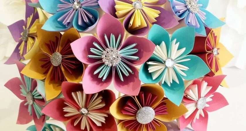Paper Flowers Bouquet Origami Bridal Stationary