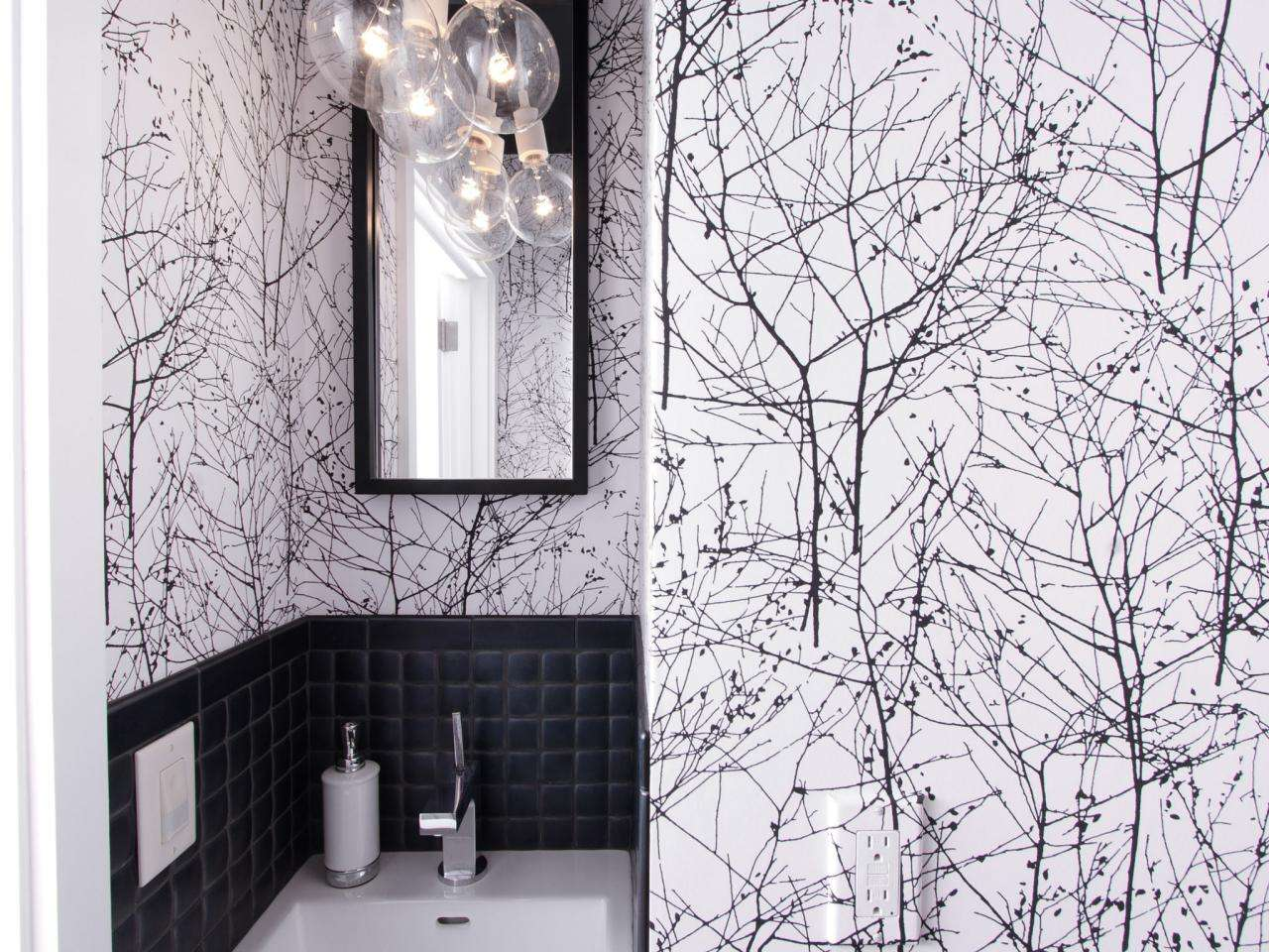 Patterned Makes Bold Statement Small Bathroom