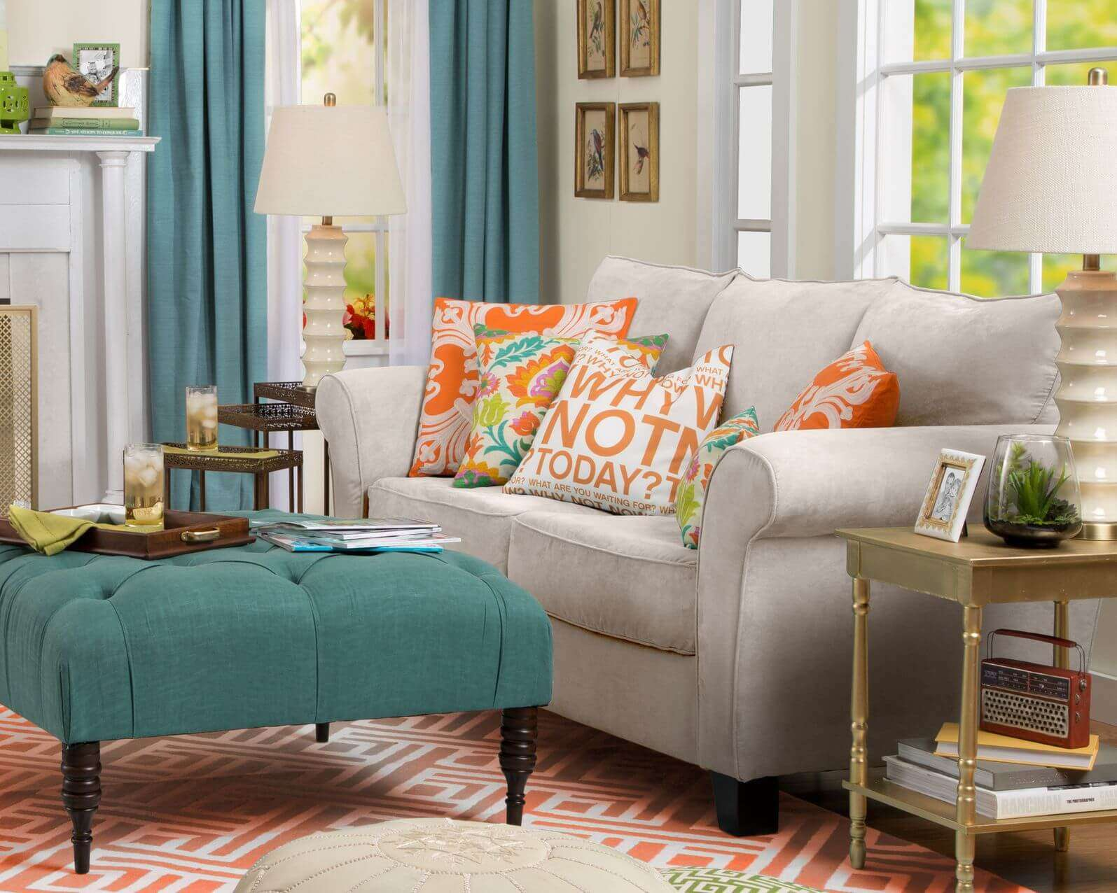 Patterns Throughout Living Room Featuring Neutral Toned Sofa