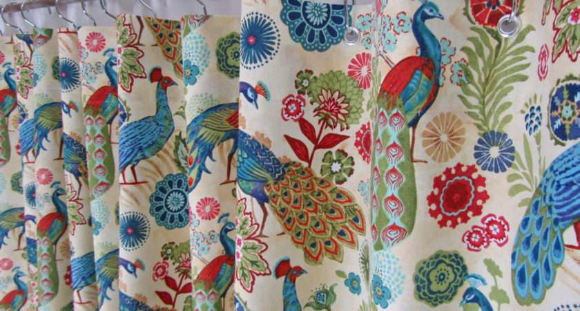 Peacock Fabric Shower Curtain Bright Bird Asmushomeinteriors