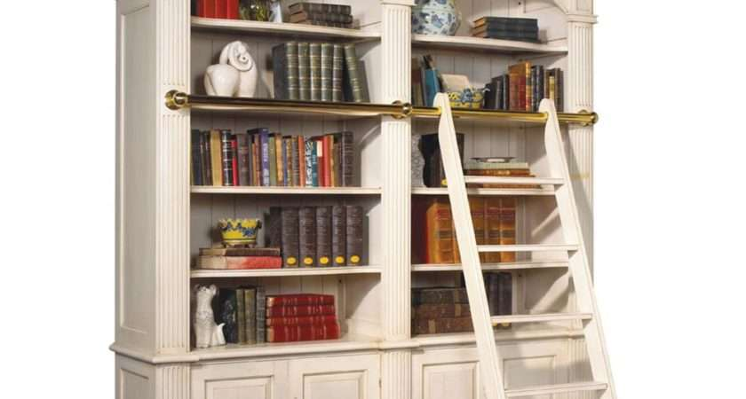 Percier French Country White Double Library Bookcase
