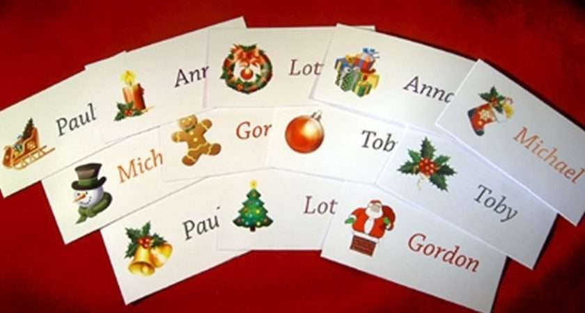 Personalised Christmas Festive Place Name Party Meal Cards Wedding