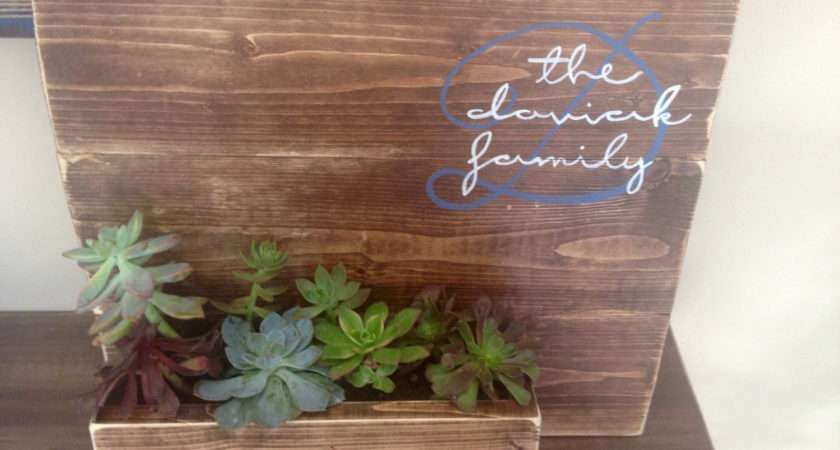Personalized Reclaimed Wood Sign Planter Cortneyleidesign