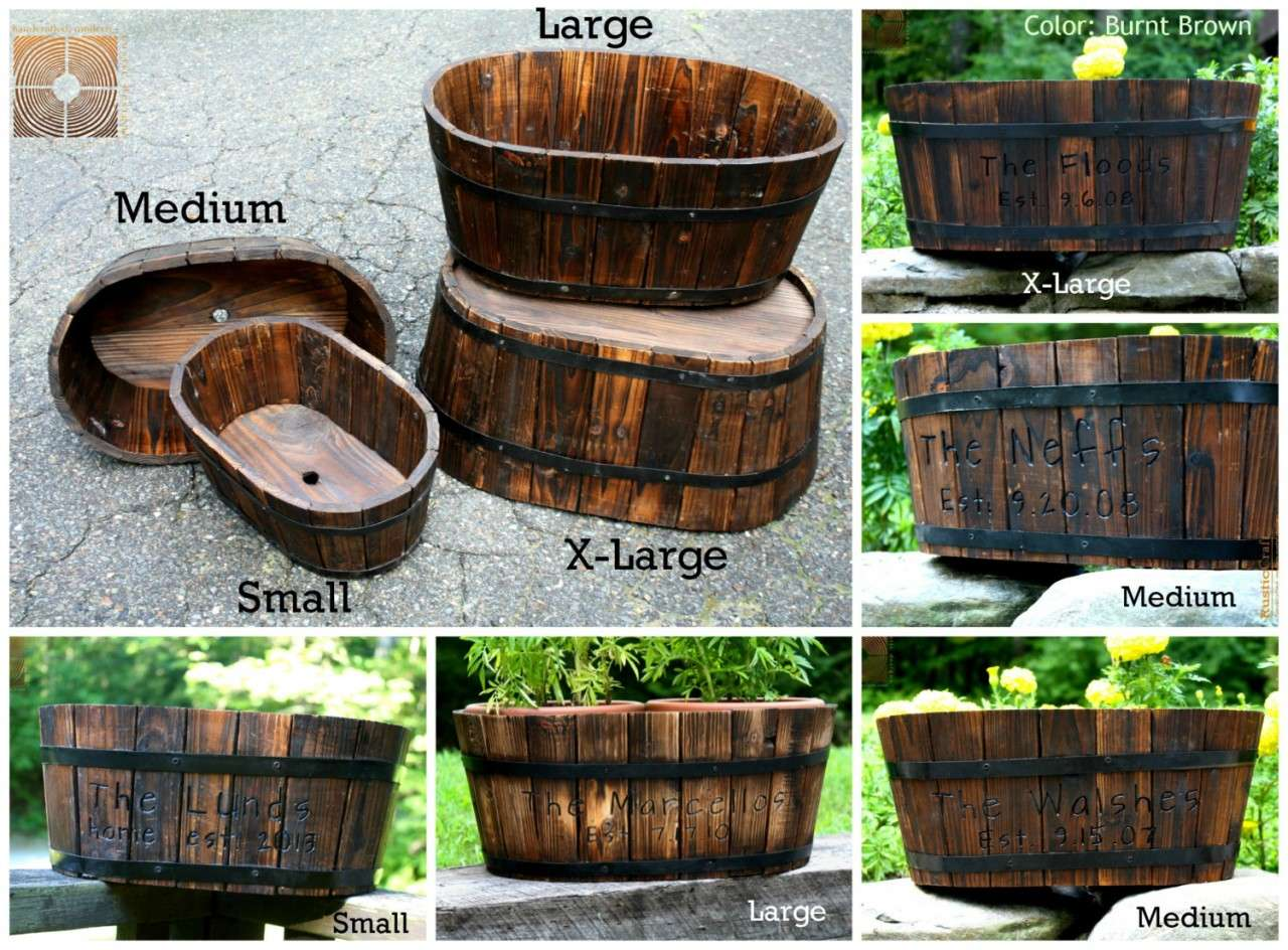 Personalized Wood Planter Yellow Cedar Anniversary Gift Garden