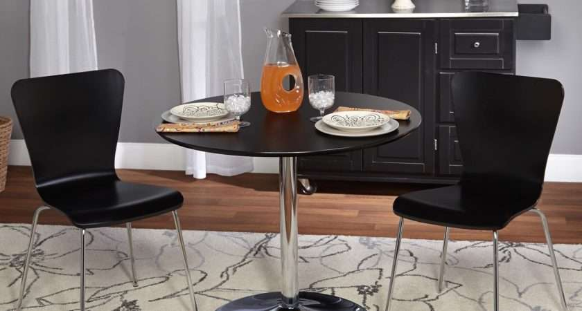Piece Dining Set Small Spaces Features Black Chairs Minimalist