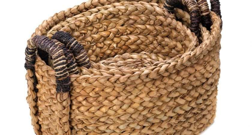 Piece Rustic Country Straw Woven Nesting Baskets