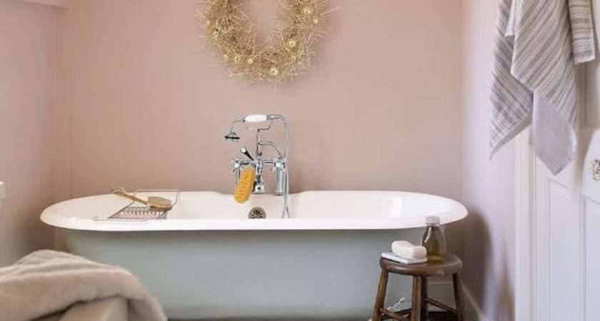 Pink Country Bathroom Clawfoot Tub Under Sloped