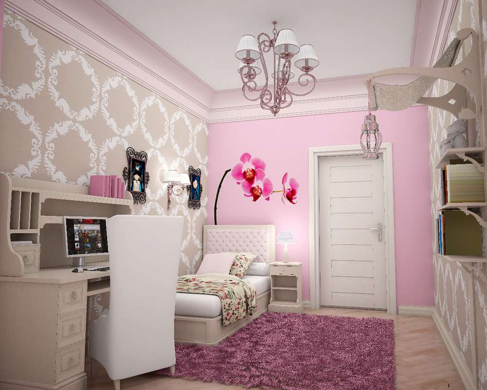 Pink Flower Wall Design Girls Room