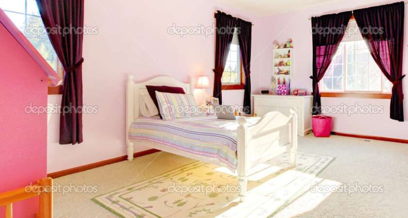 Pink Girls Bedroom Interior Curtains White Bed