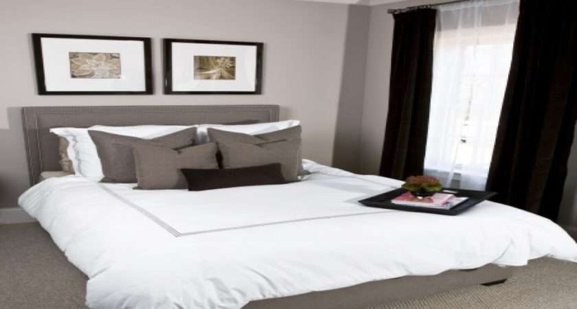 Pink Gray Bedrooms White Bedding Paint