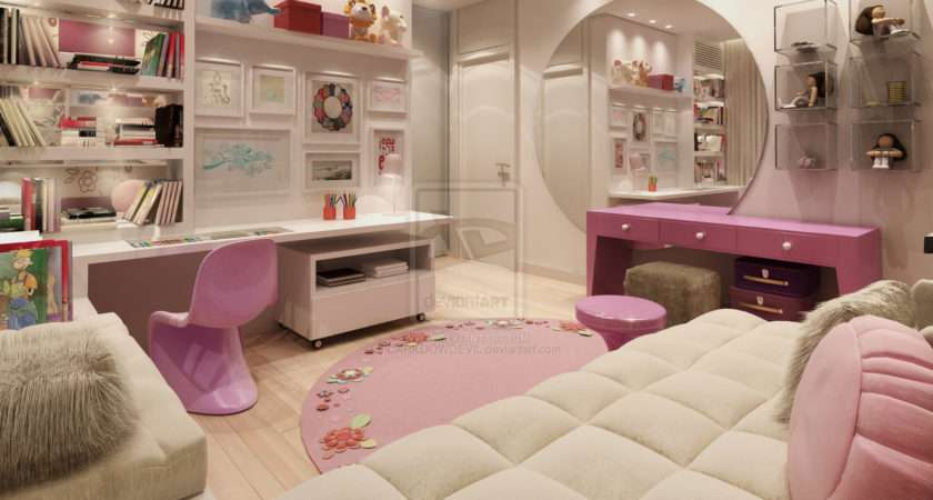 Pink Nad White Super Girly Room Round Wall Mirror
