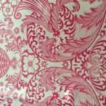 Pink Oilcloth Tablecloth Toile Damask Vintage Style Fabric Washable