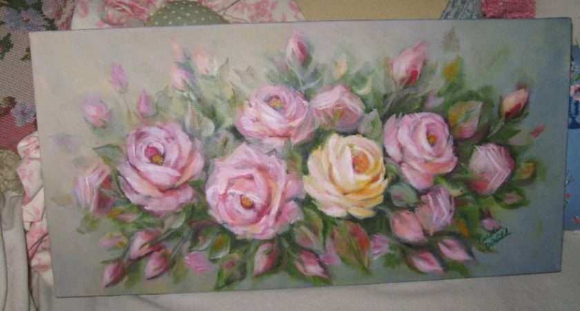 Pink Roses Oil Painting Chic Dewald Cottage Shabby