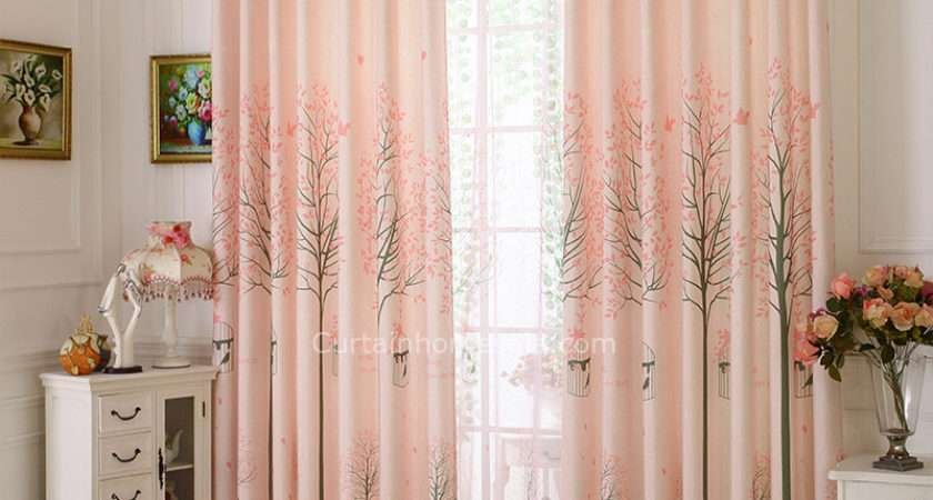 Pink Tree Print Linen Country Custom Living Room Curtains
