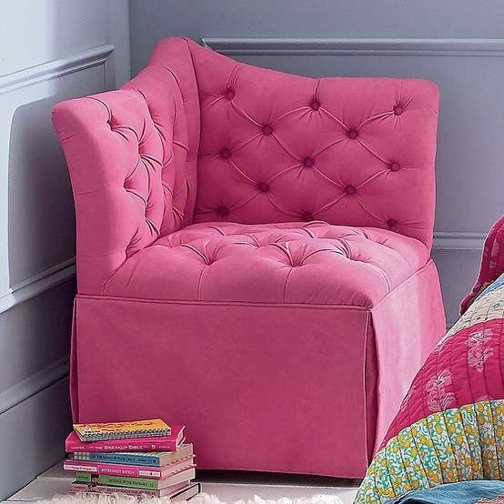 Pink Tufted Corner Chair Teenager Room Ideas Small Rooms