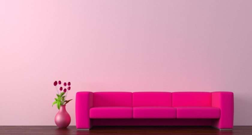 Pink Walls Red Sofa Ideas Rendering Wall Living