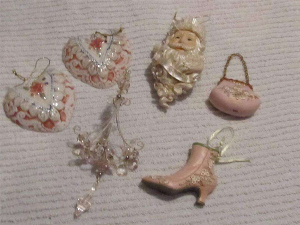 Pink White Christmas Ornaments Shabby Cottage Chic Country Ebay