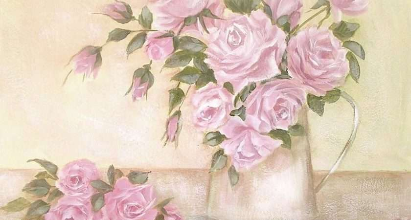 Pitcher Pink Roses Painting Chris Hobel