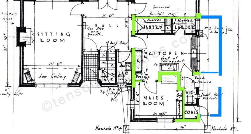 Plans House Showing Extension Work