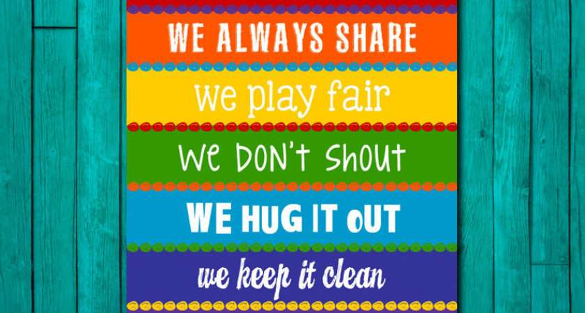 Playroom Rules Sign Childrens Wall Art Kids Littlelifedesigns