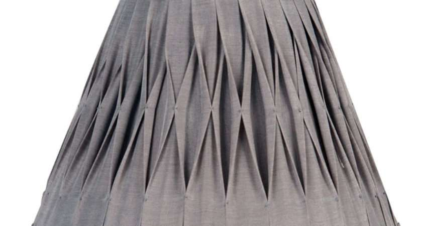 Pleated Inch Silver Grey Faux Silk Lamp Shade