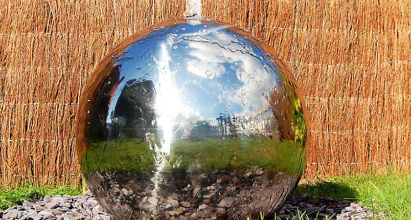 Polished Stainless Steel Sphere Water Feature Fountain Cascade