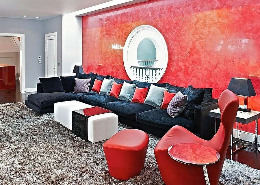 Posh Living Room Black Red Design Fisher