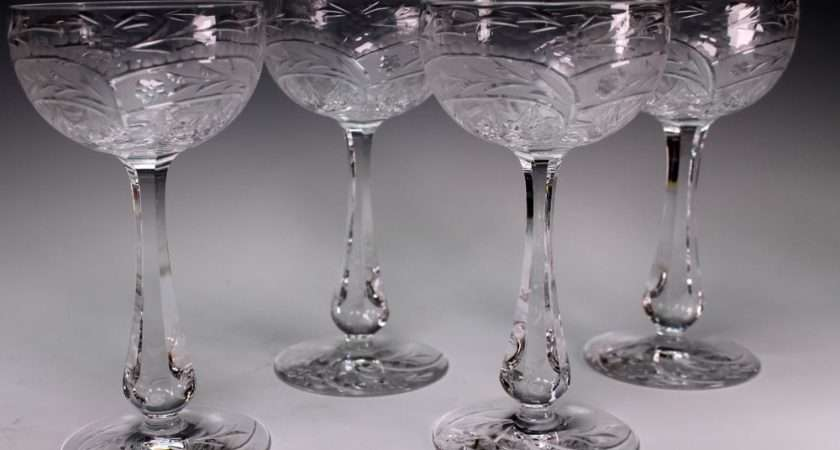 Pretty Gray Cut Engraved Crystal Floral Abp Wine Stems