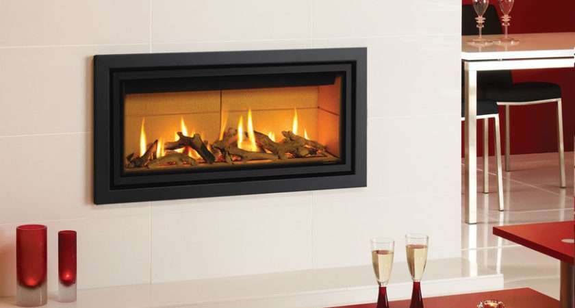 Profil Gas Fire Glass Fronted Anthracite Finish Log Effect