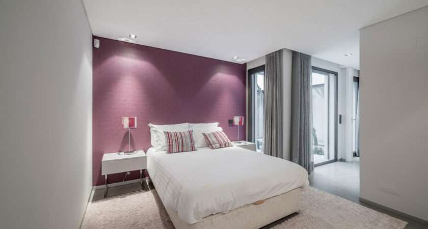 Purple Bedrooms White Wall Art Combined Bed