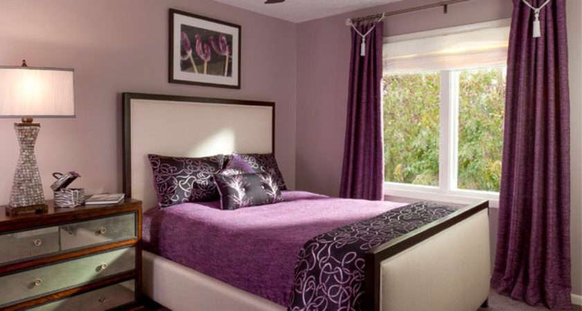 Purple Curtain White Bed Inside Contemporary Bedroom