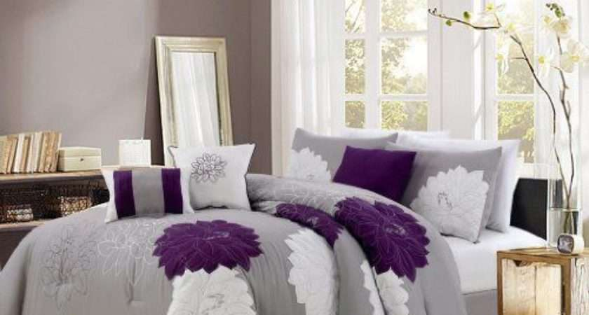 Purple Gray White Embroidered Floral Bedding Set Bedroom