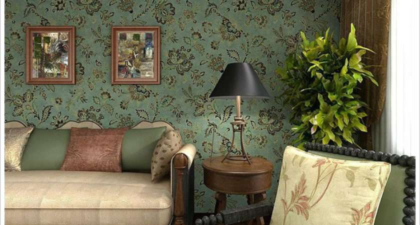 Pvc Country Style Vintage Dark Green Wall