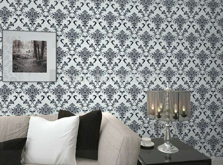 Pvc Glitter Black Silver Damask Wall Bedroom