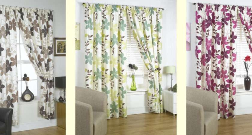 Ready Made Curtains Lined Printed Flower Design Range Colours
