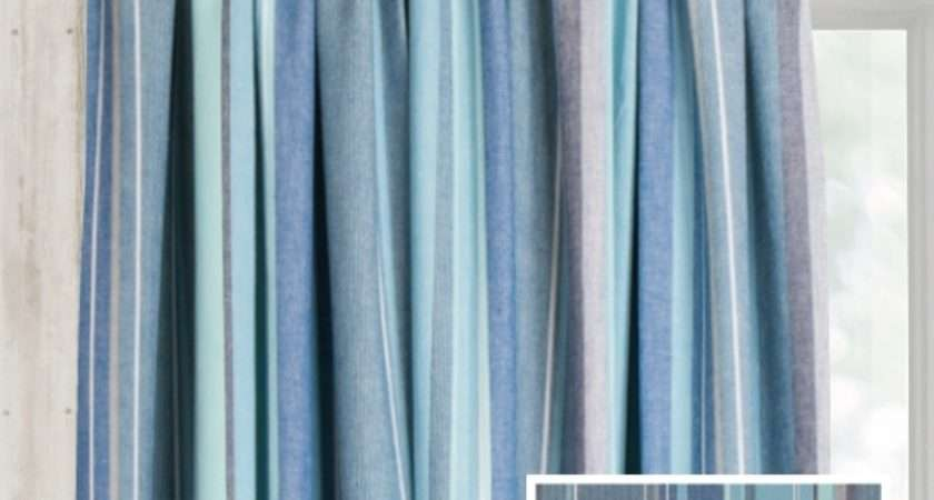 Ready Made Pencil Pleat Curtains Azure Natural